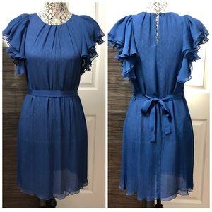 📣 BCBGMaxAzria Blue Dress with Ruffle Sleeves